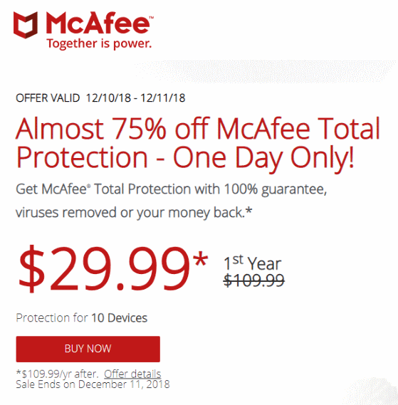 Flash Sale! Get 70% off McAfee Antivirus